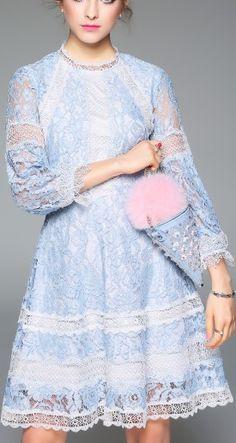 Blue Lace Lantern Sleeve Cutr A-line Mini Dress