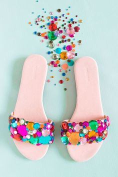 Make these Barbie-inspired, bedazzled DIY rhinestone slider sandals to add a bright pop of color to your wardrobe this summer and upcycle a pair of sandals!