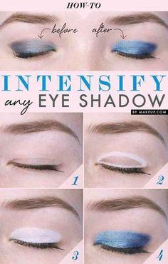 Appliquez préalablement du blanc sur la paupière pour faire ressortir votre ombre.