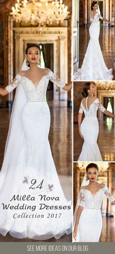 24 Milla Nova Wedding Dresses 2017 We deeply fell in love when saw the new Milla Nova wedding dresses 2017 bridal collection. These stunning wedding gowns have it all a modern style lace details and striking applications. Wedding Dresses Plus Size, Princess Wedding Dresses, Modest Wedding Dresses, Boho Wedding Dress, Bridal Dresses, Wedding Gowns, Mila Nova Wedding Dress, Lace Wedding, Cinderella Wedding