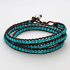 turquoise & leather bracelet~