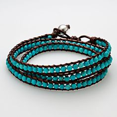turquoise & leather bracelet~