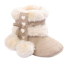 """Gotd Baby Soft Sole Snow Boots Soft Crib Shoes Toddler Boots (0~6 Month Length:4.3"""" US:2.5, Beige) -- Learn more @"""
