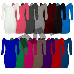 Womens Ladies Plain 3/4 Sleeve Bodycon Long Top Mini Tunic Plus Size Dress 8-22