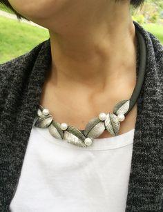 Silver Leaf Statement Necklace Bronze Leaf by mypurplebasket