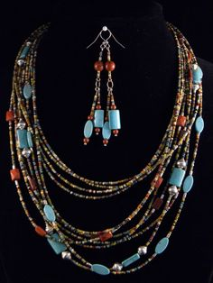 Multistrand Picasso seed bead with turquoise by Doreendidit, $115.00