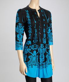 Love this La Cera Black & Turquoise Pleated Chandelier Tunic by La Cera on #zulily! #zulilyfinds