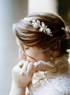 Wedding Hair Accessories: Gold Floral Headband by Eden Luxe Bridal