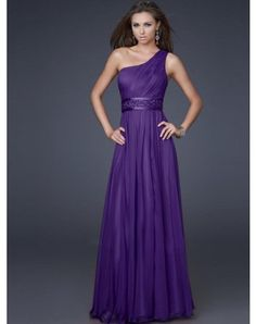 2012 Style Empire One Shoulder Beading Sleeveless Floor-length Chiffon Prom Dresses / Evening Dresses (SZ0245789 )