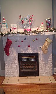 Christmas Mantle  Got to decorate our chimney!