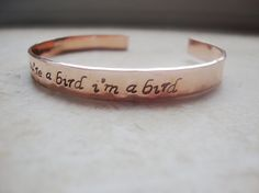 Notebook quote hand stamped hammered copper cuff by Lolasjewels