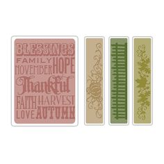 Sizzix - Tim Holtz - Texture Fades - Alterations Collection - Embossing Folders - Thankful Background and Borders Set at Scrapbook.com $9.34
