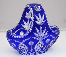CUT TO CLEAR COBALT BLUE BOHEMIAN BASKET CZECH ART GLASS  7900