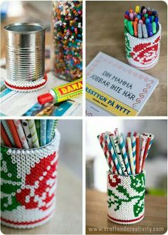 Beaded tin can - by Craft & Creativity - hama beads or perler beads glued onto a tin can in a cross-stitch pattern Tin Can Crafts, Diy Arts And Crafts, Bead Crafts, Diy Crafts, Pony Bead Patterns, Hama Beads Patterns, Beading Patterns, Fuse Beads, Perler Beads