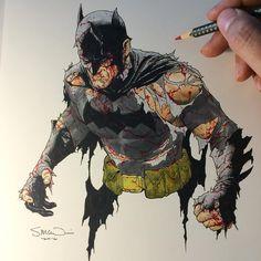 Here's a Batman colour sketch I did for fun in between cover work today! #batman #dccomics #coloursketch #copic #stevemcniven #stillstanding