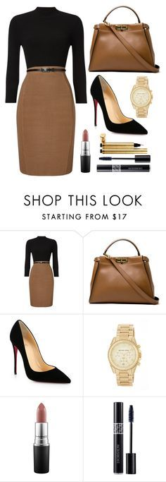 """Professional 1"" by lightbody-joanna on Polyvore featuring Phase Eight, Fendi, Christian Louboutin, MICHAEL Michael Kors, MAC Cosmetics, Christian Dior and Yves Saint Laurent"