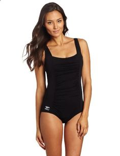 Speedo Womens Endurance Shirred Tank One Piece Swimsuit Black. Check website for more description.
