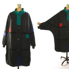 80s Geometric Avant Gard Wool Cocoon Coat with by SpunkVintage, $48.00