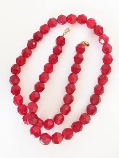 See new listings daily - follow us for updates.  Vintage Christmas #Red Crystal Bead Necklace, Large Faceted Glass Beads Wire Strung with Barrel Clasp, Mid Century Glass Beads, Holiday Necklace, Christmas Necklace, Christm... #vintage #jewelry #teamlove #etsyretwt #bestofetsy #red #mimisjewelryboutique ➡️…