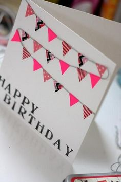 can use washi tape i have and buy other supplies! Washi tape DIY birthday card - Happy New Year 2019 Homemade Birthday Cards, Diy Birthday, Homemade Cards, Birthday Bunting, Funny Birthday, Grandma Birthday, Card Birthday, Birthday Quotes, Washi Tape Cards