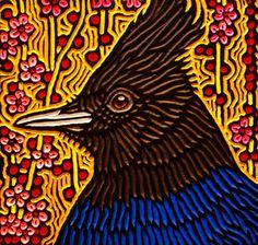 steller's jay woodcut by Calgary artist Lisa Brawn Block Prints, Art Prints, Linoleum Block Printing, Block Painting, Stamp Printing, Ceramics Ideas, Lino Cuts, Bird Drawings, Etchings