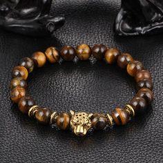Leopard Charm Natural Stone Beads Bracelet