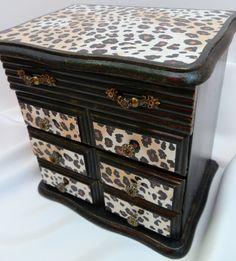 Upcycled Jewelry Box Wood Decoupage Leopard by TreasuresbyMarylou, $36.00