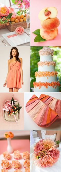 Summer Wedding Details: Pretty Peach and Pink Wedding Themes, Wedding Styles, Wedding Decorations, Stage Decorations, Wedding Ideas, Wedding Color Schemes, Wedding Colors, Coral Colour Palette, Coral Color