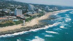 Umhlanga Rocks - elegant seaside suburb of Durban, KwaZulu-Natal. O'Conner Promenade and Natal Sharks Board. South Beach, Durban South Africa, Kwazulu Natal, Out Of Africa, Beaches In The World, Pretoria, Am Meer, Aerial View, Beautiful Beaches
