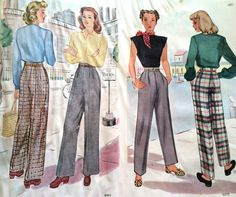 4803, 6379 ladies slacks McCall January 1940s vintage patterns 1940s