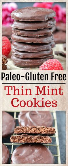 These Paleo Thin Mint Cookies are easy to make and irresistible! A crunchy chocolate cookie dipped in mint chocolate that is gluten free, dairy free and naturally sweetened, but no one will be able to Paleo Cookies, Gluten Free Cookies, Gluten Free Baking, Gluten Free Desserts, Healthier Desserts, Paleo Dessert, Paleo Sweets, Dessert Recipes, Paleo Food