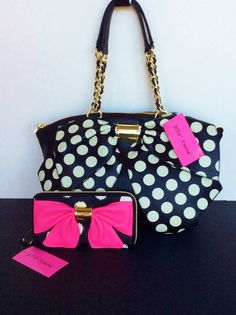 Nwt Betsey Johnson Bow Nanza Black White Dots Satchel Handbag Purse Wallet Set