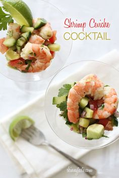 Shrimp cocktail is fine, but when I want something special, I like to have my shrimp ceviche style!       Tossed with avocados, cucumbers, tomatoes, cilantro and fresh lime juice... and sometimes I add a serrano pepper for zing. Served in martini glasses, it's the perfect appetizer for any special occasion and perfect for the Holidays.  I do have a few variations of this, zesty lime shrimp can be served as a side dish, but I wanted this to be more of a cocktail appetizer. You can easily make…