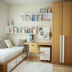 dashing White Bedroom With Wooden Cupboard And Cabinet And White Book Shelves and White Rug and fascinating White Wall a part of White Teen...