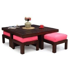 Elmwood Coffee Table With Four Stools (Cobalt Blue Color Upholstery),Living Room Furniture Bedroom Furniture Design, Home Decor Furniture, Living Room Furniture, Pink Furniture, Wooden Dining Tables, Dining Table Design, Coffee Table With Seating, Coffee Tables, Adjustable Height Coffee Table