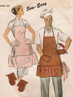 his her aprons Vintage Apron Pattern, Apron Pattern Free, Aprons Vintage, Vintage Sewing Patterns, Apron Patterns, Sewing Ideas, Sewing Projects, Cobbler Aprons, Cute Aprons