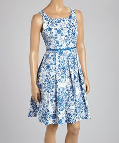 Loving this Cece's New York Blue Floral Sleeveless Dress on #zulily! #zulilyfinds