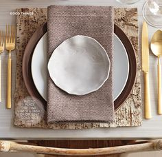 birch bark place mat, faux bois plate and brown tone place setting | Martha Stewart Living, Oct 2011