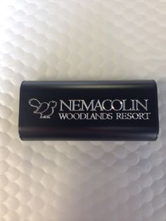The Nemacolin Woodlands Resort. Custom engraved portable charger by Plusblue Solutions.