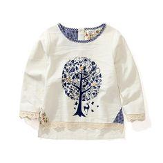 2015 nueva primavera otoño muchachas blusa europeo niña blusa de manga larga tops teenages de las muchachas niños para 2 10 años en Blusas y Camisas de Bebés en AliExpress.com | Alibaba Group