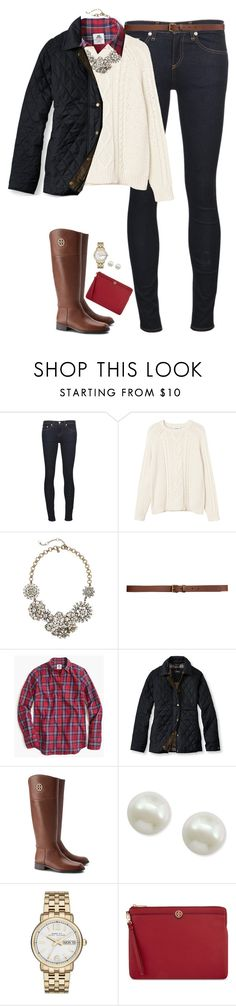 """""""Red plaid, cable knit & statement necklace"""" by steffiestaffie ❤ liked on Polyvore featuring rag & bone/JEAN, Monki, J.Crew, H&M, Thomas Mason, L.L.Bean, Tory Burch, Majorica and Marc by Marc Jacobs"""