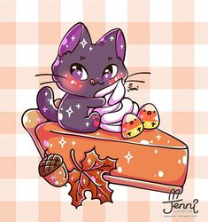 Pumpkin Pie Season 🍁🥧 I never tried pumpkin pie before. Kawaii Halloween, Cute Halloween Drawings, Art Kawaii, Kawaii Doodles, Kawaii Cat, Cute Kawaii Animals, Cute Animal Drawings Kawaii, Cute Food Art, Cute Dragons
