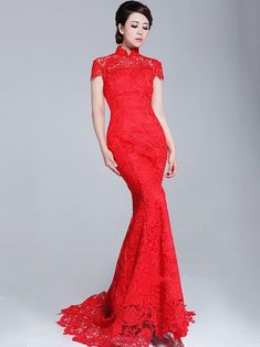 Lace Fishtail Cheongsam / Qipao / Chinese Wedding Dress