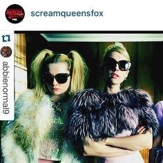 """Lilly e Violetta on Instagram: """"@emmaroberts wearing @lillyevioletta ARABELLA short jacket in rosewater pink fox #originassured in the big finale of #screamqueens #winter #screamqueensfox #screamqueen @screamqueensfox @screamqueens.fox #fox #winter #fur"""""""