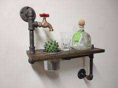 Industrial Black Iron Pipe Bucket Planter Shelf by Mobeedesigns, $139.97