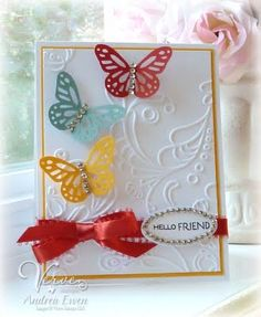 6/30/2011; Andrea Ewen at 'EwenStyle' blog using SU embossing folder and Martha Stewart punch