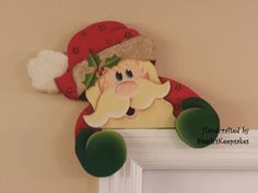 Hand painted  Wooden Santa Door Hanger Chritmas by stephskeepsakes