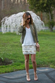 Sequin skirt and army jacket