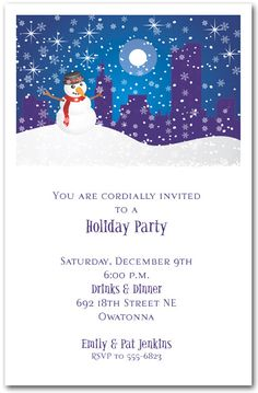 christmas party invitation wording snowman christmas party