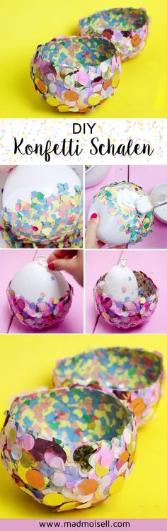Gifts For Kids Make DIY bowls from confetti yourself: Simple craft idea with children Diy Crafts For Kids, Gifts For Kids, 21st Birthday, Birthday Parties, Bedroom Crafts, Easter Crafts, Diys, Simple, How To Make